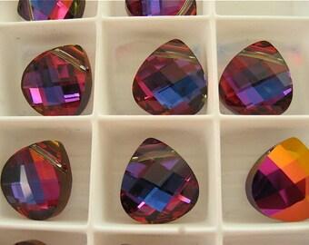 4 Crystal Volcano Swarovski Pendants Briolette 6012 15mm