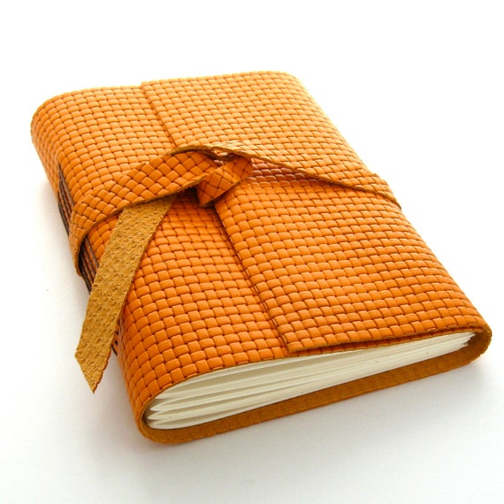 Orange Leather Journal and Sketchbook, An Autumn Journal in Orange and Brown READY TO SHIP