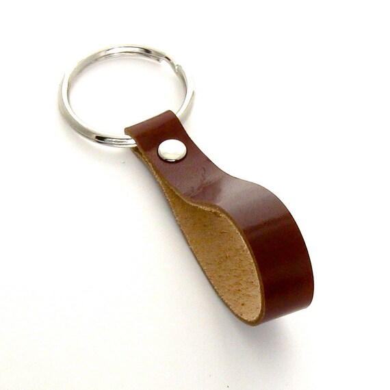 Brown Leather Key Ring, A Handmade Leather Keychain for Men or Women