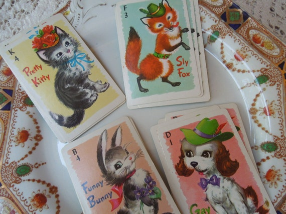 44 Vintage Animal Rummy Cards Complete Game
