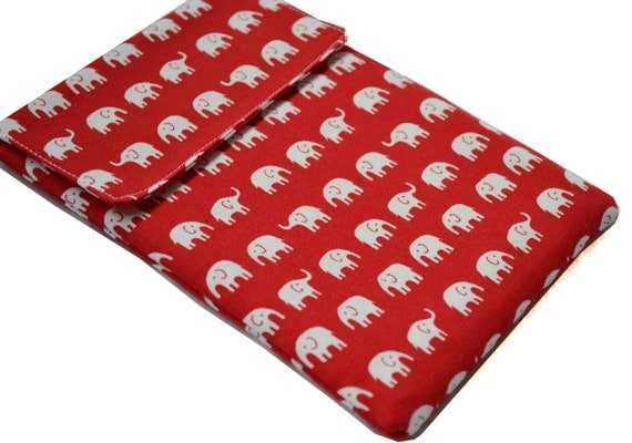 Free Shipping - Padded Kindle Case, Kindle Cover, Kindle Sleeve - Elephant Rows in Red