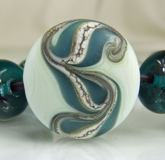 Etched Pale Green, Teal,Silvered Ivory Lampwork  Bead Set