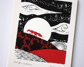 Little Red Fox. Original silkscreen print.