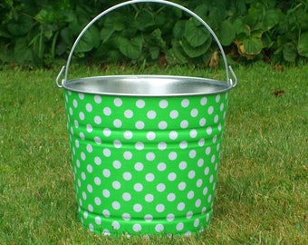 Galvanized Bucket Apple Green and White Polka Dot Metal Drink Pail