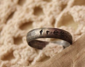 free - hammered ring band oxidized 7.25
