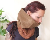 brown cowl wool and lace winter double layer fall fashion