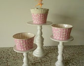 3 varied sizes Mini wood cupcake stands pedestals or cake pop stands SET 3 you choose colors ECS