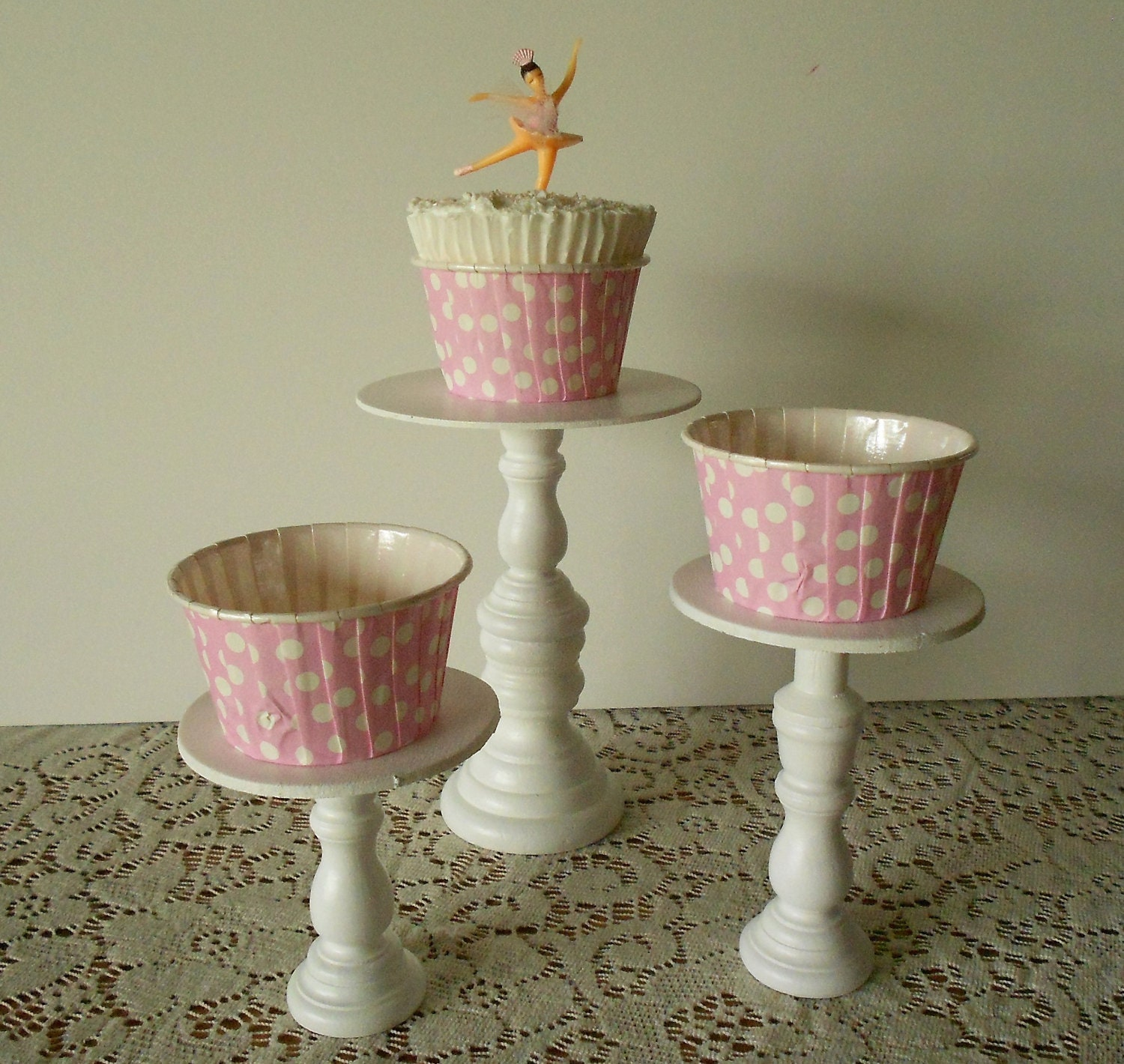 3 Varied Sizes Mini Wood Cupcake Stands Pedestals Or Cake Pop