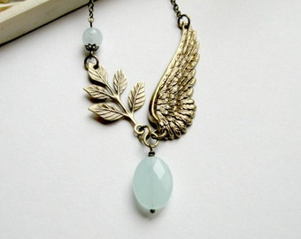 Brass wing necklace, blue amazonite quartz, brass leaf - nature jewelry