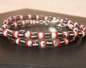 Black, White and Red Trade Bead Wrap Around Bracelet - Sterling Silver