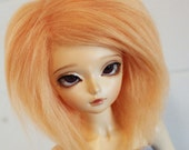 bjd wig msd sized tangerine hand colored fake fur wig