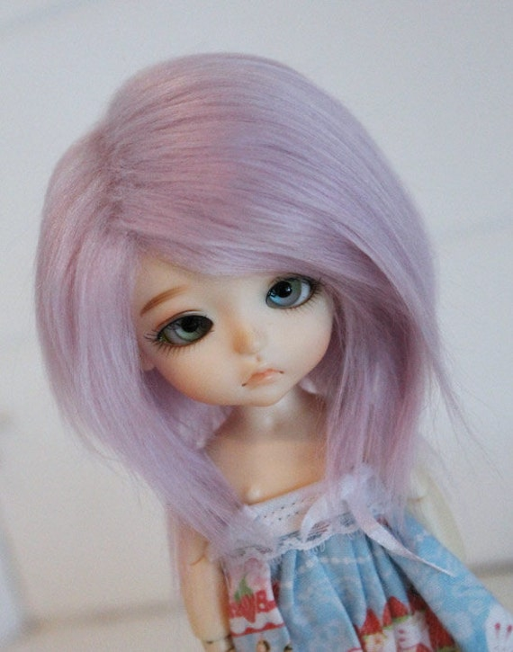 doll wig BJD wig Dollfie wig Lati Yellow/PUKIFEE/monster high sized fake fur LILAC hand colored  wig monstrodesigns