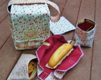 Instant Download Eco Friendly Picnic Lunch Set PDF Sewing Pattern. Lunch Bag. Sandwich Bag, Snack Bag. Fabric Napkin. Sandwich Wrap