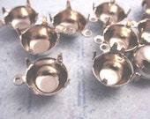 16 Silver Tone Round Prong Settings 47SS 10mm 1 Ring Closed Back