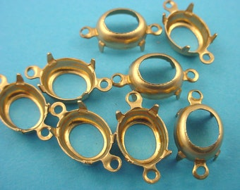 24 Brass Oval Prong  10x8 Settings  2 Ring Open Backs connectors