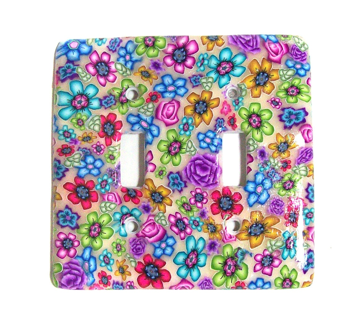 Light switch cover plate English Garden Millefiori polymer