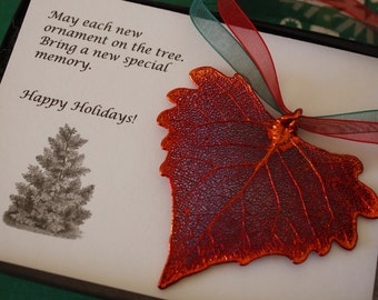 Leaf Ornament Copper, Real Leaf Cottonwood, Cottonwood Leaf Extra Large, Ornament Gift, Christmas Card, ORNA45