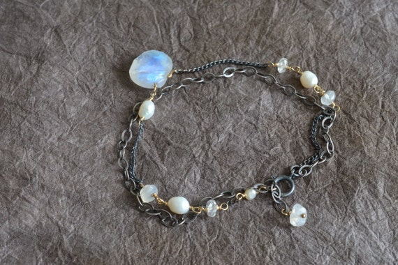 Moonstone Pearl Gold & Oxidized Sterling Silver Chain Double Strand Bracelet