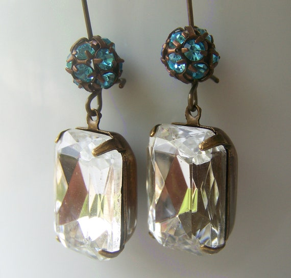 Vintage Rhinestone Earrings, vintage look, patina, vintage wedding, bride, bridesmaid jewelry
