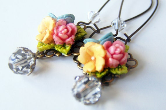 Pink Peach Turquoise Blue Summer Bouquet Earrings, Swarovski Crystal
