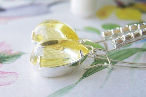 Yellow Jonquil Bombe Pear Earrings, Elegant, pretty statement earrings