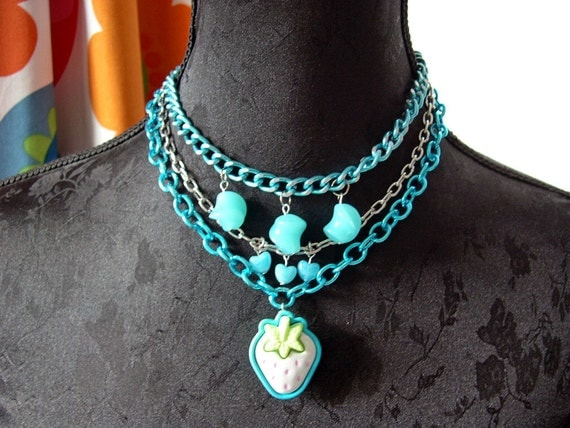 Strawberry necklace choker in blue Gothic lolita kawaii