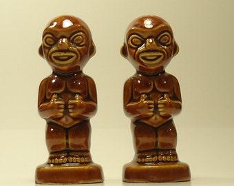 Vintage Souvenir Kon Tiki Tiki Man Ceramic Salt And Pepper Shakers