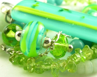 Turquoise Lime Lampwork Gemstone Beaded Fused Glass Pendant Necklace with Sterling Silver