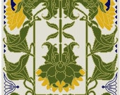 Sunflower cross stitch pattern PDF  Art Nouveau