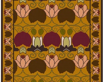 Art Nouveau Lily Pad Table Rug cross stitch pattern PDF
