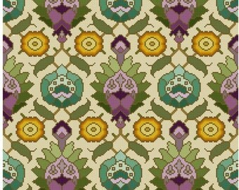 Antique Wallpaper adaptation Persian motifs Cross stitch pattern PDF