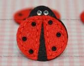 Set of 6pcs Bling Bling felt ladybug with swarovski crystal--devil red (FT770)