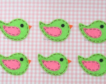 Set of 6pcs handmade felt bird--isle green (FT869)