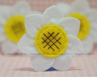 Set of 6pcs handmade felt sunflower--white (FT945)