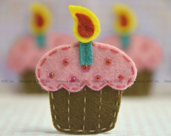 Set of 6pcs handmade felt cupcake--chocolate/baby pink (FT953)