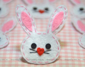 Set of 6pcs Handmade felt bunny--white (FT888)