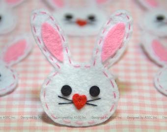 Set of 6pcs Handmade felt bunny--white (FT888)