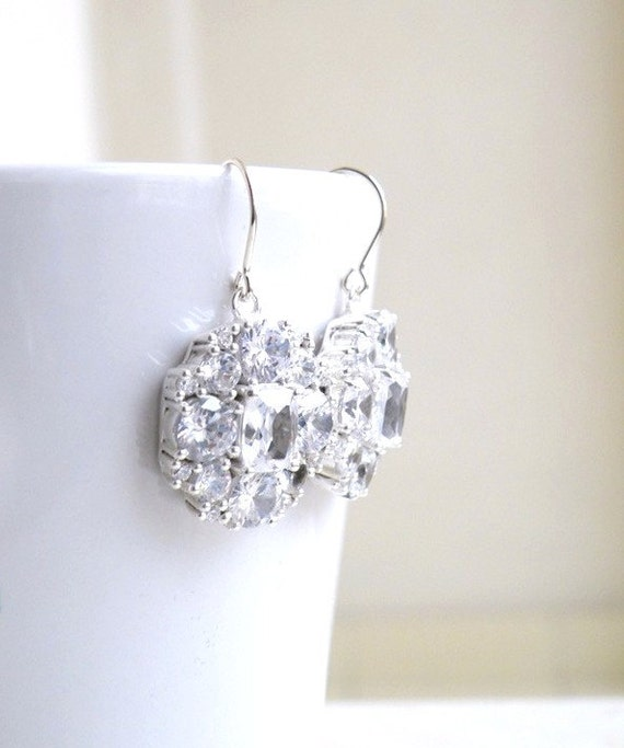 Bridal Earrings Ivanka Trump Cushion CZ Silver IEP2