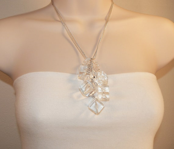 Silver Necklace, Crystal Clear Cubes Cluster Pendant Ice Cubes Drops Modern Chic - Ice
