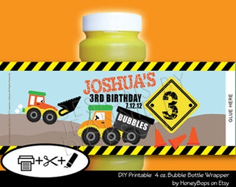 Bubble Wrapper Construction/Dump Truck- Custom Printable - PDF file