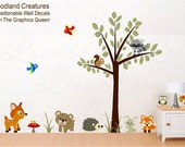 Nursery Wall Decal Woodland Forest Animals Wall Sticker Tree Bear Fox Deer Raccoon - Fabric Decal - Eco friendly Child Safe Repositionable