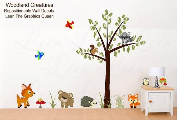 items similar to nursery wall decal woodland forest animals wall sticker tree bear fox deer. Black Bedroom Furniture Sets. Home Design Ideas