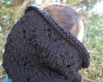 Black cowl scarf thick knit cowl hood gaiter large warm big chunky knit scarf snood bulky winter neck warmer wrap men women vegan yarn soft