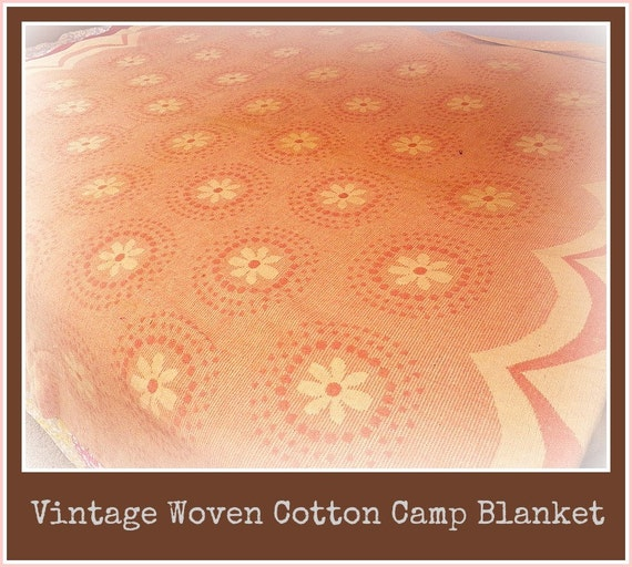 RESERVED for LUNACYWITCH til 10/9/12 - Vintage 1940s Pink Floral Woven Cotton Camp Blanket - Lake Lodge or Adirondack Style