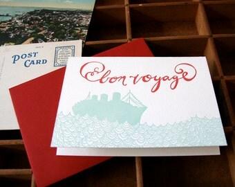 letterpress card bon voyage