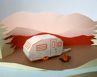 letterpress tag a long camper DIY 3D card