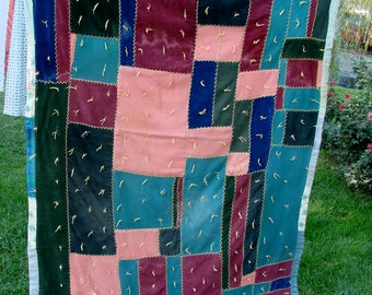 Vintage Hand Tied and Briar Stitched Small Patchwork Cutter Quilt