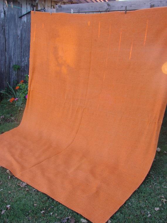Vintage 1970s Orange Tangerine Pumpkin Tweed Burlap Look Bedspread