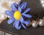 Adjustable Shabby Purple Daisy Resin Cabochon Adjustable Ring