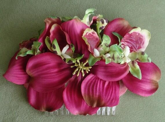 Bridal Hair Wedding Hair Burgundy Fuchsia Dogwood Orchid Flower Hair Comb Fascinator Headpiece
